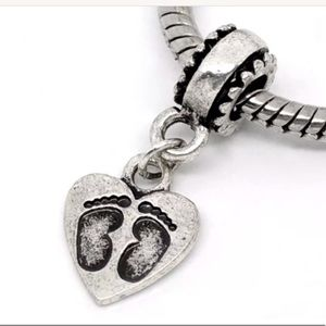 Footprints baby shower silver Tone Dangle Charm
